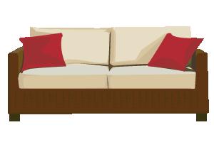 ベッドやテーブルなど家具のイラスト